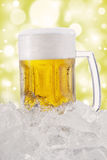 Frothy beer in the glass with bokeh background Royalty Free Stock Photography