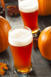 Frothy Orange Pumpkin Ale. Ready to Drink Stock Photo
