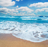 Frothy shore and scenic clouds Royalty Free Stock Image