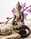 Frottement et massage pour le traitement de station thermale de zen images stock