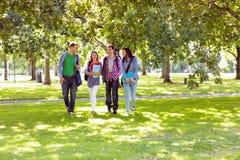 Froup av högskolestudenter som går i parkera Arkivfoton