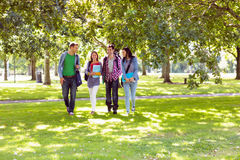 Froup of college students walking in the park. Full length of a group of young college students walking in the park Stock Photos