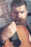 Frown bearded man hipster Royalty Free Stock Images