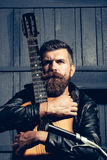 Frown bearded man hipster biker Royalty Free Stock Photos