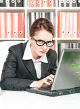Frown business woman working Stock Photos