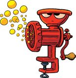 Frown grinding machine produces bubbles. Frown grinding machine produces yellow bubbles royalty free illustration