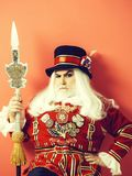 Frown senior man beefeater stock image