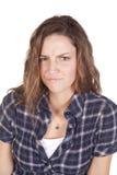Frown van de vrouw blauw overhemd Stock Foto's