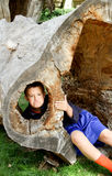 Frowning boy in hollow tree Stock Photos
