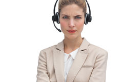 Frowning call center agent Royalty Free Stock Photography