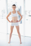 Frowning fit brown haired model in sportswear posing with hands on the hips Stock Photos