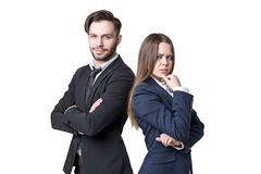 Frowning woman and happy man Royalty Free Stock Photos