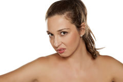 Frowning woman Stock Photo