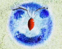 Frozen abstract happy face with smile, red nose and eyes. Blue background of ice crystals and cheerful face with eyebrows of twigs royalty free illustration