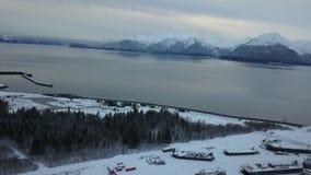 Frozen Alaska shipyard stock footage
