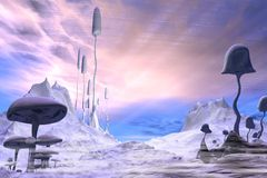 Frozen Alien Landscape with Dramatic Sky Stock Photo
