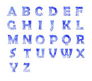 Frozen alphabet. In blue font Royalty Free Stock Images