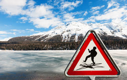 Frozen alpine lake Royalty Free Stock Images