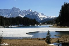Frozen Alpine Lake Misurina Stock Photos