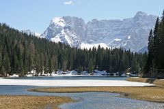Frozen Alpine Lake Misurina Royalty Free Stock Photo
