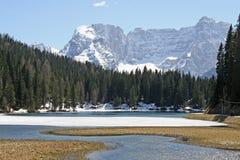 Frozen Alpine Lake Misurina Royalty Free Stock Photo