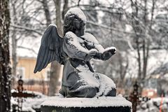 Frozen Angel Covered With Snow At The Cemetery Grave Yard In Winter Royalty Free Stock Images