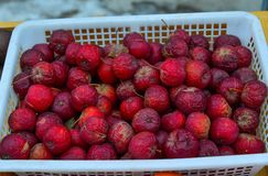 Frozen apple fruits at local market. In Mohe County, China stock photos