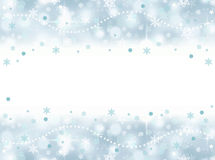 Frozen winter aqua blue snowflake party background with blank space. And stars royalty free illustration