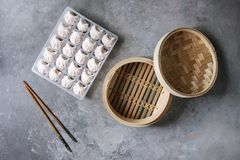 Frozen Asian Steam Dumplings Stock Images