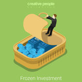 Frozen assets financial market business flat 3d vector isometric. Frozen investments assets flat 3d isometry isometric financial market business concept web Royalty Free Stock Images