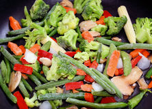 Frozen Assorted Vegetables In Skillet. Assorted frozen vegetables in non-stick skillet, ready for cooking.   Peas, carrots, broccoli, corn, beans and more Royalty Free Stock Photo
