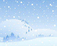 Frozen background. An illustration of a frozen landscape with snow covered hills and fir trees in a winter snow shower under a blue sky Stock Images