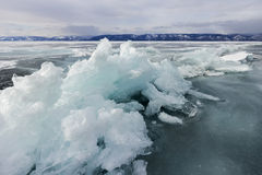 Frozen baikal lake in winter Royalty Free Stock Photography