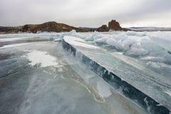 Frozen baikal lake in winter Stock Photos