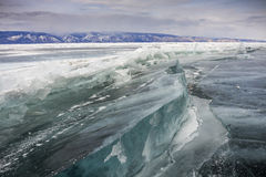 Frozen baikal lake in winter Royalty Free Stock Image