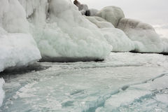Frozen baikal lake in winter Stock Image
