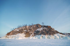 frozen baikal lake in winter Stock Photography