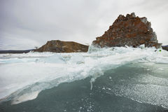 Frozen baikal lake in winter Stock Photography