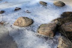 Frozen Baltic Sea and Some Rocks Coming Trough the Ice. Frozen sea with some grey stones coming through it. Photographed in Finland during a sunny spring day stock images