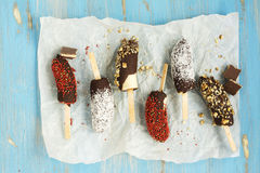 Frozen banana popsicles Royalty Free Stock Image