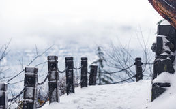 Frozen barrier protects from falling stock photography