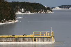 Frozen Bay. A smoothly frozen bay with a wharf and coastline Royalty Free Stock Image