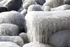 Frozen beach in Afsluitdijk - major causeway in Ne Royalty Free Stock Image