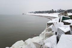 Frozen beach view by the baltic sea Stock Photos