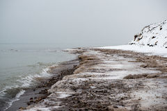 Frozen beach view by the baltic sea Royalty Free Stock Photos