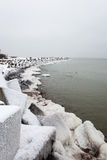 Frozen beach view by the baltic sea Stock Photo