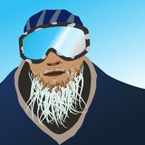 Frozen beard snowboarder Stock Photography