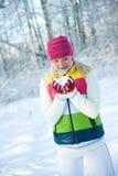 Frozen beautiful woman Stock Photo