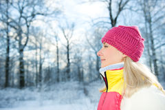 Frozen beautiful woman Royalty Free Stock Photography