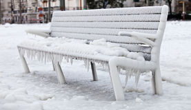 Frozen Bench Royalty Free Stock Images